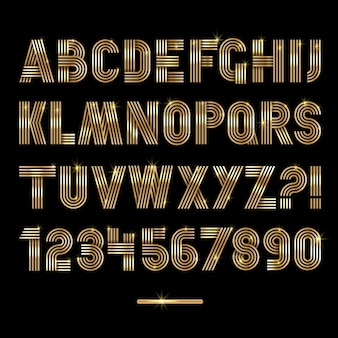 Retro streifen gold schriftarten settrendy elegante retro-stil-design vektor-design