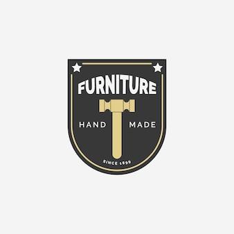Retro stuhlmöbel-logo-konzept