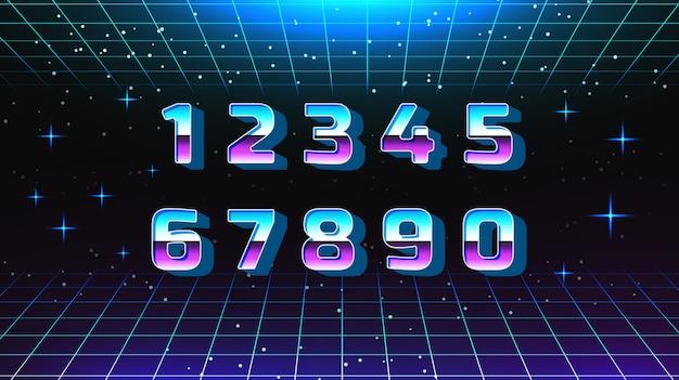 Retro style number set