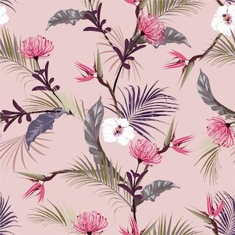 Retro süße tropische dschungel mit exotischen blumen, hibiskus blumen nahtloses muster