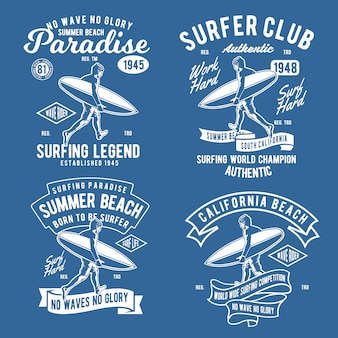 Retro surfing abzeichen