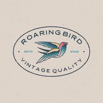 Retro-tätowierungslogoikonenillustration des brüllenden vogels vintage