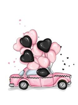 Retro taxi mit luftballons und herzen