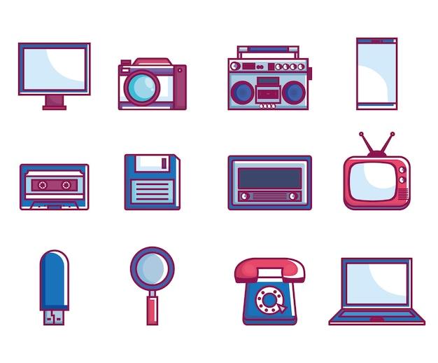 Retro technologie set gadgets