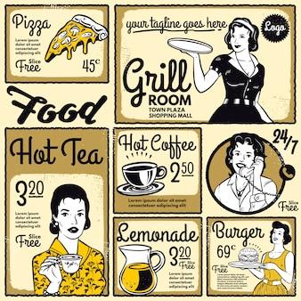 Retro template design menü restaurant