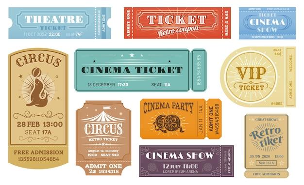 Retro-tickets für zirkus, kino und filmparty, theater- und vip-show, vorlagen.