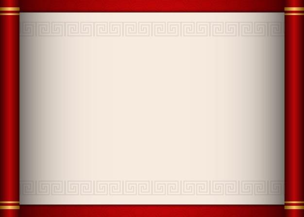 Retro traditionelle chinesische art rote schriftrolle papier vorlage spirale kreuzrahmen grenze