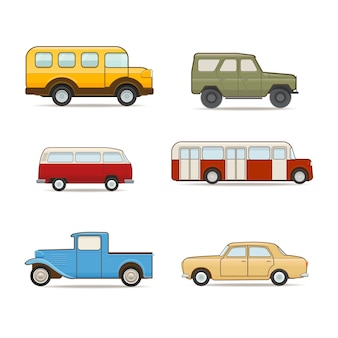 Retro transport set illustration