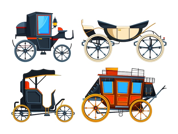 Retro transportwagen. bilder von kutschen