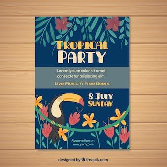 Retro tropische partybroschüre mit blumen und tukan