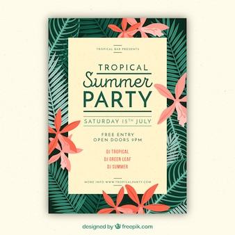 Retro tropische partybroschüre mit schönen blumen und blättern