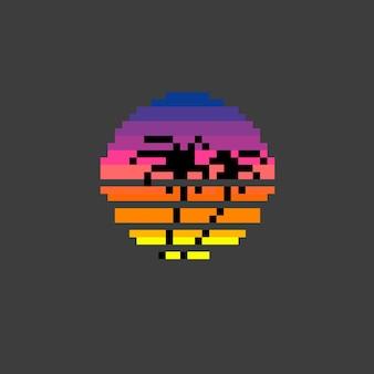 Retro tropischer sonnenuntergang mit pixel art style