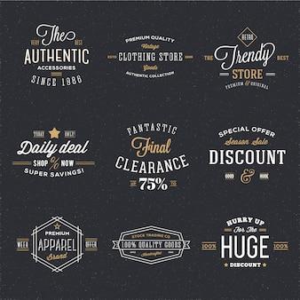 Retro typografie rabatt und verkauf logo vorlagen mit vintage hintergrund