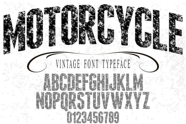 Retro typografie-schriftartmotorrad