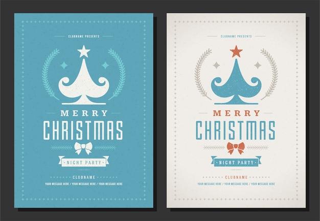 Retro-typografie und dekorationselemente der weihnachtsfeier-flyereinladung