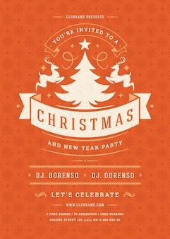 Retro-typografie und dekorationselemente der weihnachtsfeiereinladung. weihnachtsferien event flyer oder poster.