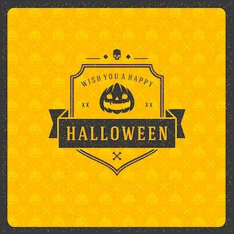 Retro- typografieaufkleber oder -ausweis der halloween-feier