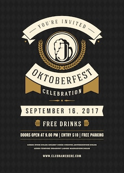 Retro- typografieplakat der oktoberfest-bierfestival-feier