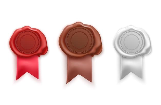 Retro und alte siegelwachsstempel der roten, braunen und weißen farben. satz isolierte briefmarken