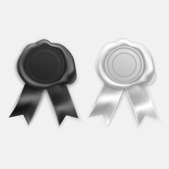 Retro und alte siegelwachsstempel der schwarzen und weißen farben. satz isolierte briefmarken