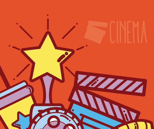 Retro- und bunte karikaturen des kinos entwerfen