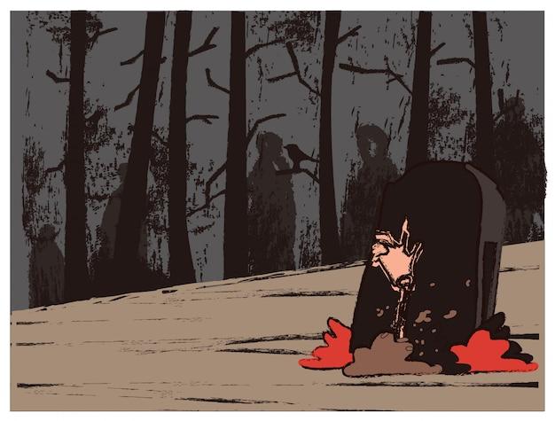 Retro- und schmutzvektorillustration des horrorkirchhofs. handskelett in der grube. weinlese retro halloween