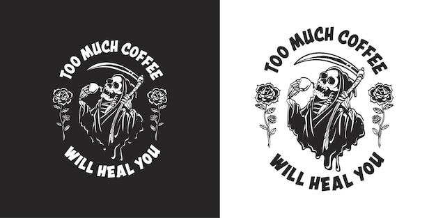 Retro- und weinlesestil-logo mit sensenmann, der kaffee-illustration trinkt