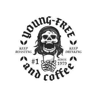 Retro- und weinlesestil-logo mit skelett, das eine tasse kaffee-illustration hält
