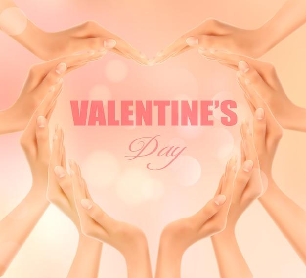 Retro urlaubshintergrund mit den händen, die ein herz machen. valentinstag.