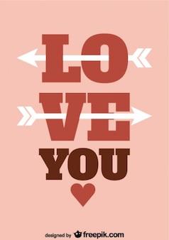 Retro valentinstag typografie und pfeile kartendesign