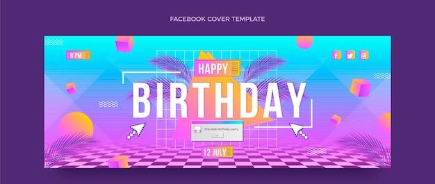 Retro-vaporwave-geburtstags-facebook-cover mit farbverlauf