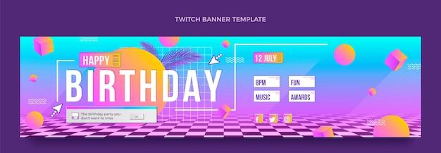 Retro-vaporwave-geburtstags-twitch-banner mit farbverlauf