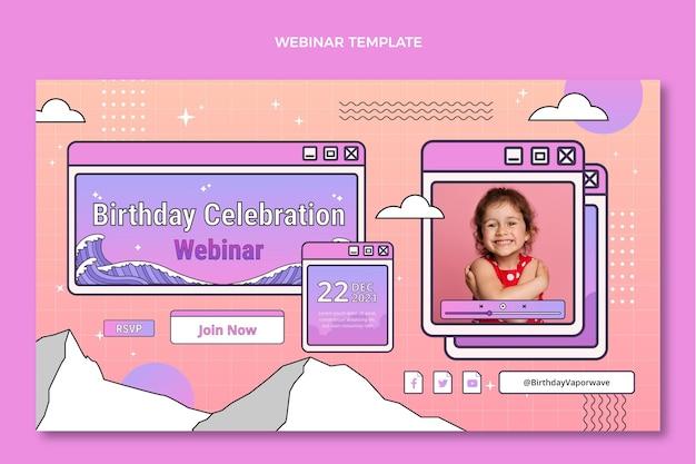 Retro-vaporwave-geburtstags-webinar mit farbverlauf