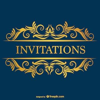 Retro-vektor-blauen kostenlose einladung vorlage