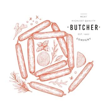 Retro vektor fleisch illustration. hand gezeichnete würste, gewürze und kräuter. rohkost zutaten. vintage skizze