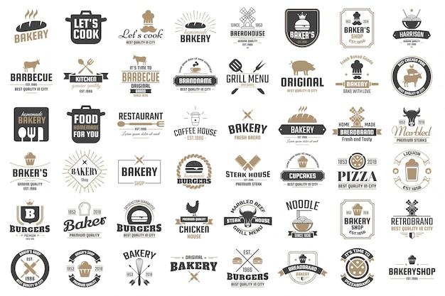 Retro- vektor-logo des restaurants für fahne, plakat, flieger