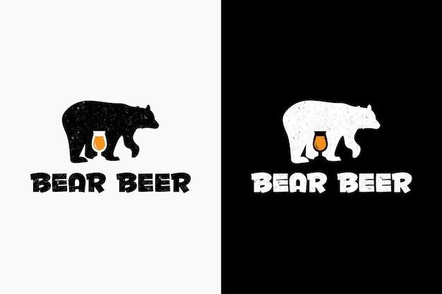 Retro-vektorikonenillustration des bärenbierlogo-hipster-jahrgangs