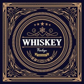 Retro-vektorillustration des whisky-etiketten-weinlesedesigns