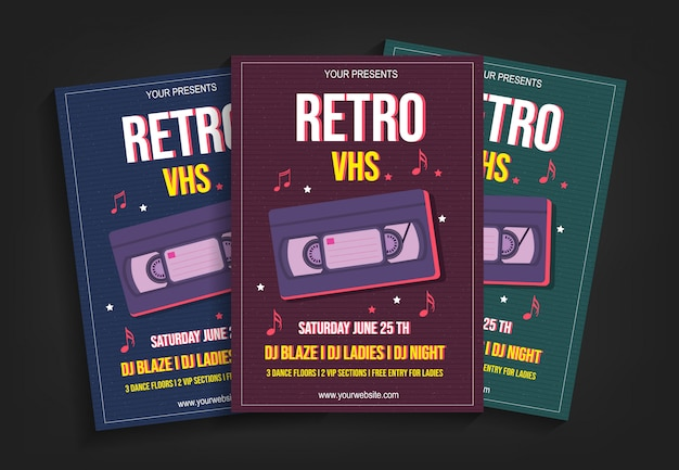 Retro vhs party flyer vorlage