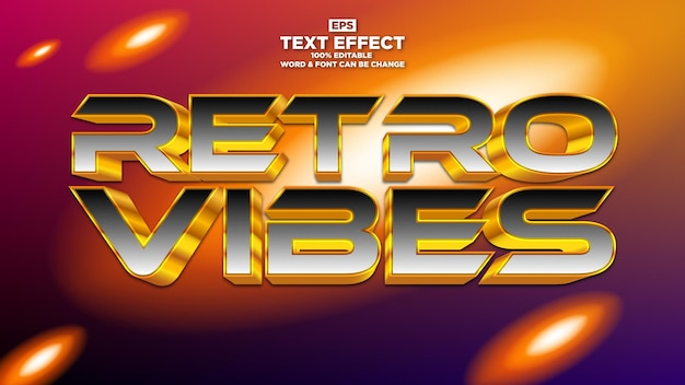 Retro-vibes bearbeitbarer texteffekt mit vintage-hintergrund und licht