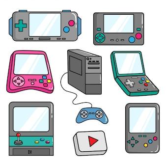 Retro-videospiel-controller mit buntem doodle-stil