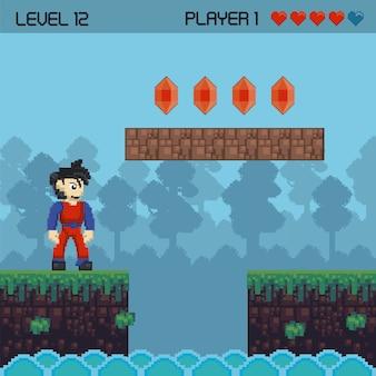 Retro videospiel pixelig landschaft