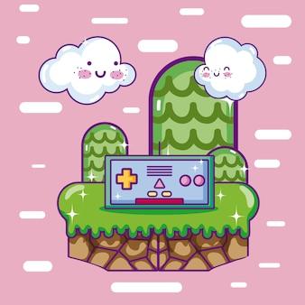 Retro videospiel szenerie cartoons
