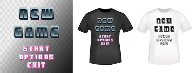 Retro-videospiel-typografie für t-shirt, stempel, t-shirt, applikation, modeslogan, abzeichen, etikettenkleidung, jeans oder andere druckprodukte. vektor-illustration.