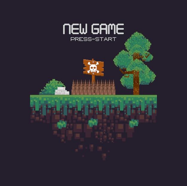 Retro- videospiellandschaft mit dem gelände pixelated