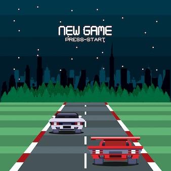 Retro- videospielschirm-säulenganghintergrundkarte