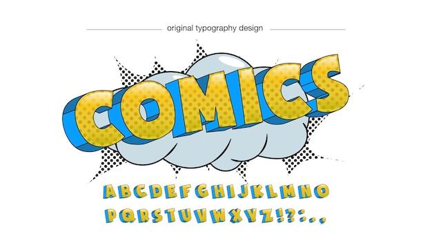 Retro-vintage 3d-comic-buch-typografie