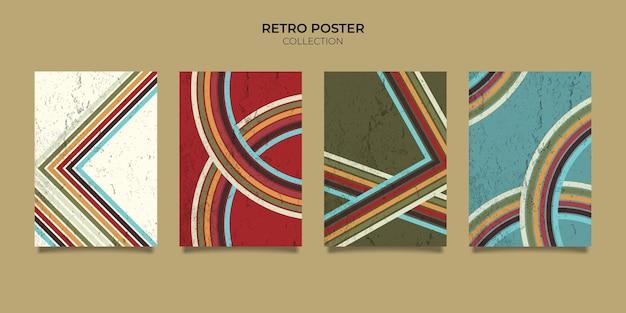 Retro vintage 70er jahre stil streifen hintergrund poster linien. formen vektor-design-grafik 1970er jahre retro-hintergrund. abstrakter, stilvoller rahmen aus der 70er-jahre-ära