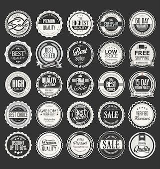 Retro vintage abzeichen und etiketten-vektor-sammlung