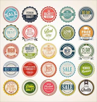 Retro vintage abzeichen und label-auflistung